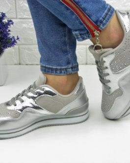 Жіночі стильні сріблясті кросівки в каменях ... 1cca99c6d3b72