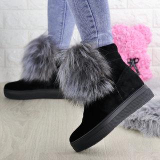 Жіночі зимові черевики з хутром Loki чорні