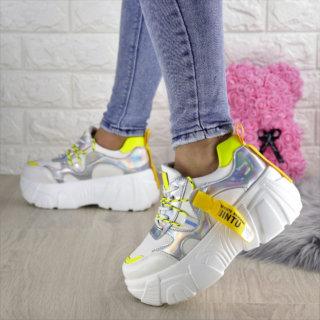 Жіночі стильні білі/неон кросівки Sabella
