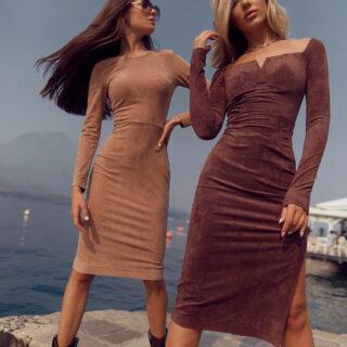 Облягаюча замшева сукня